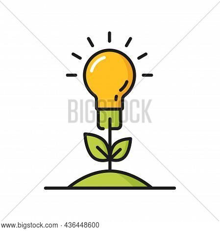 Lightbulb Growing In Soil As Plant Eco Environment Isolated Line Icon. Vector Green Sprout Gardened