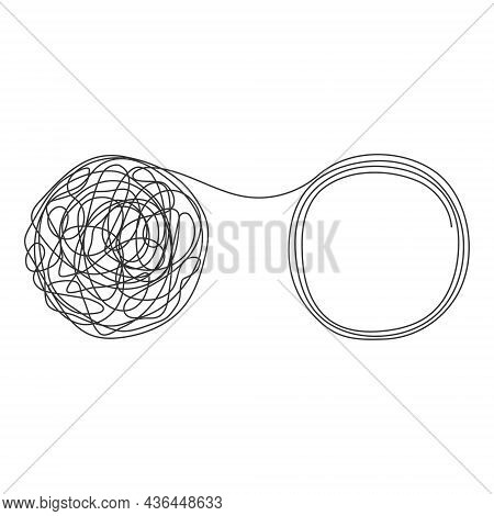 Unraveling Tangled Tangle. Psychology Therapy Help Concept. Chaos And Mess Line Symbol. Vector Illus