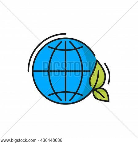 Earth Planet With Clean Environment Isolated World Ecology, Nature Global Protect Sign Thin Line Ico