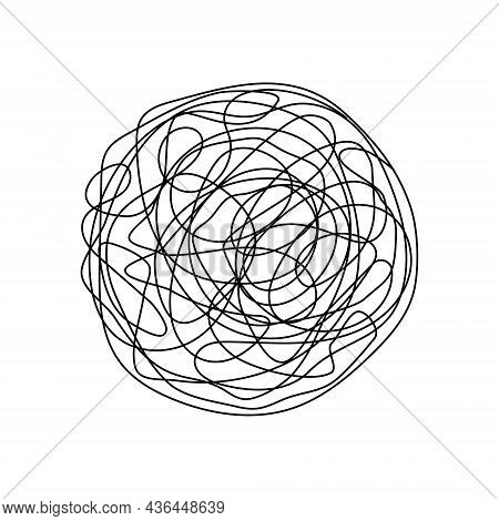 Hand Drawn Scrawl Symbol. Chaotic Doodle Line Sketch Circle. Vector Illustration Isolated On White.