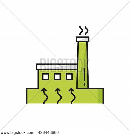 Nuclear, Electrical Power Station Isolated Factory Color Thin Line Icon. Vector Green Plant Generati