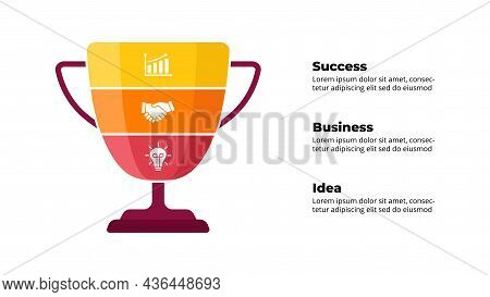 Winner Cup. Success Infographic. Presentation Slide Template. Diagram Chart With 3 Steps, Processes.