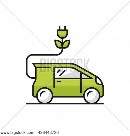 Green Eco Car With Charge Plug Isolated Hybrid Vehicle Thin Line Icon. Vector Automobile On Battery,