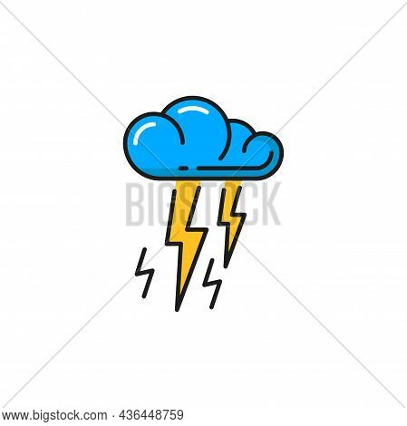 Lighting And Bolt Natural Energy Source Isolated Color Line Icon. Vector Weather Forecast Sign Color