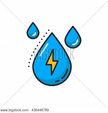 Rain Drop And Lighting Bolt Natural Energy Sources Isolated Color Line Icon. Vector Weather Forecast