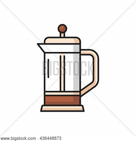 Tea Press Pot, Filter And Handle Flat Line Icon. Vector French Press Tea Kettle, Equipment For Brewi