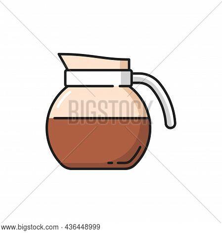 Jug Of Milk, Kettle Of Coffee Or Tea Isolated Flat Line Icon. Vector Coffeeware Item, Teapot Kitchen
