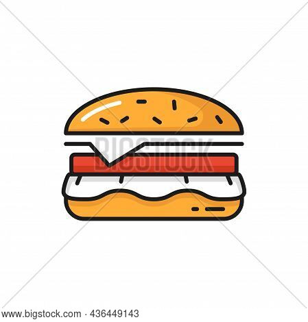 Hamburger Fastfood Snack Food Delivery Icon Isolated. Vector Cheeseburger Or Tasty Burger With Chopp