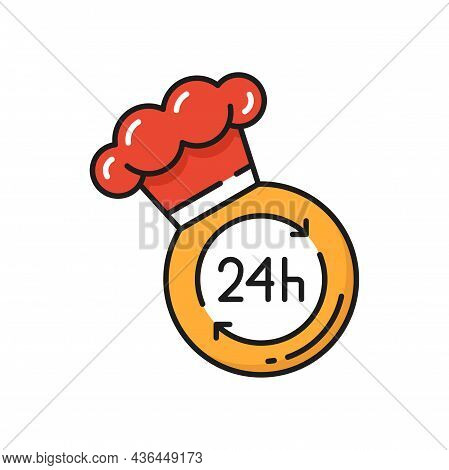 Online Orders On Fast Food Delivery 24 Hours Isolated Icon. Vector Express Day Night Order And Deliv