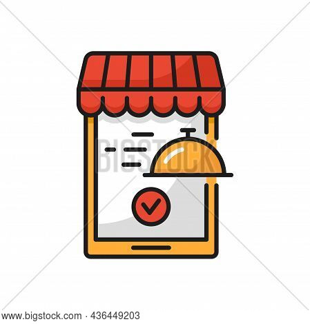 Food Delivery Icon Online Mobile Application Lunch Isolated. Vector Fast Food Delivery In Smartphone