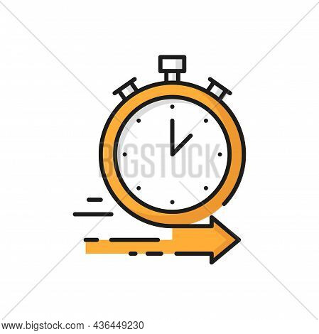 Online Orders On Fast Food Delivery Clock Isolated Icon. Vector All Day Night Fast Deliver Services,