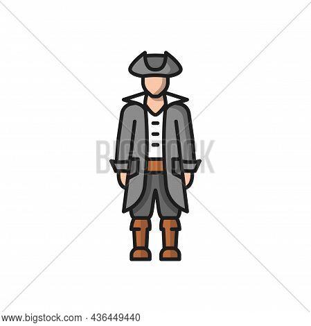 Conquistador Medieval Conqueror Isolated Flat Cartoon Icon. Vector Traditional Spanish Man In Nation
