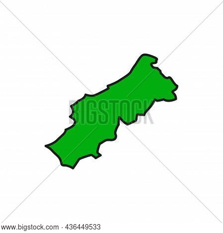 Portuguese Republic Isolated Map Green Silhouette Flat Line Icon. Vector Portugal Political Map, Geo