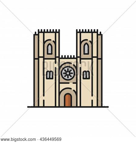 Portugal Catholic Religion Cathedral Isolated Color Church Flat Line Icon. Vector Exterior Design Of