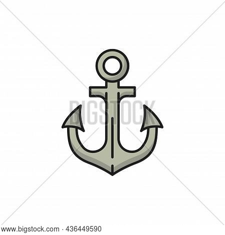 Anker Anchor Marine Object Naval Heraldry Isolated Flat Line Icon. Vector Symbol Of Portugal Seafari