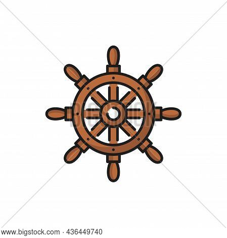 Ship Wheel, Seafarer Handwheel Or Ship-wheel With Handles Isolated Flat Line Icon. Vector Boat Contr