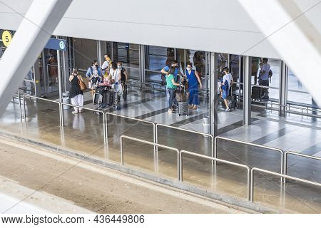 Beautiful View Of Walking People At Airport Building. Transportation Concept. Greece. Thessaloniki.