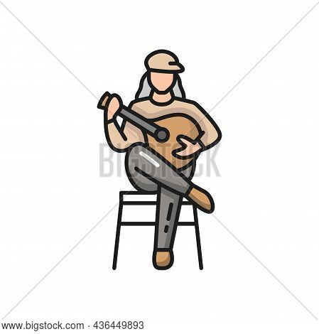 Fado Portuguese Music Player Guitarist With Guitar Isolated. Vector Portugal Guitarist, Singer With