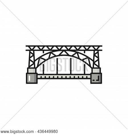 Portuguese Bridge Porto Isolated History Landmark Flat Line Icon. Vector Portugal Medieval Architect