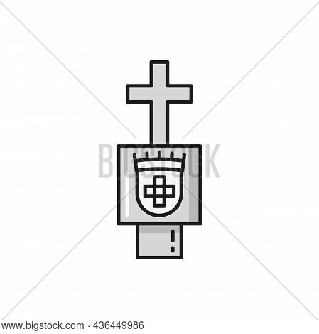 Symbol Of Order Of Christ Isolated Symbol Of Portugal. Vector Marble Cross On Graveyard Gateway, For
