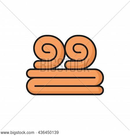 Towels Folded Or Rolled Spa Cloth Isolated Flat Line Icon. Vector Stack Of Hygiene Orange Fleece Mat