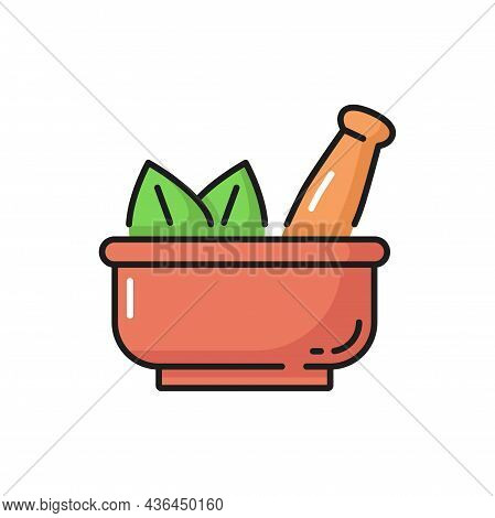 Mortar And Pestle Bowl Of Spa Powder With Green Herb Leaves Isolated Icon. Vector Powdered Herbs And