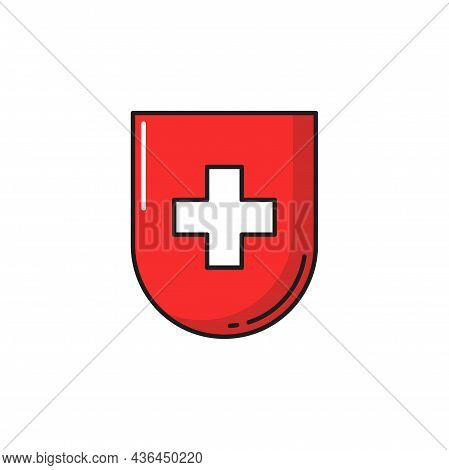 Shield With Swiss Flag Or Cross, Healthcare Emblem Isolated. Vector Healthcare Medicine Cross, Medic