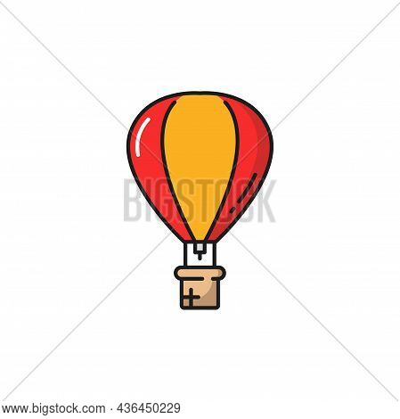 Aerostat Hot Air Balloon In Yellow And Red Colors, Hot Air Balloon Or Aerostat Isolated Line Icon. V