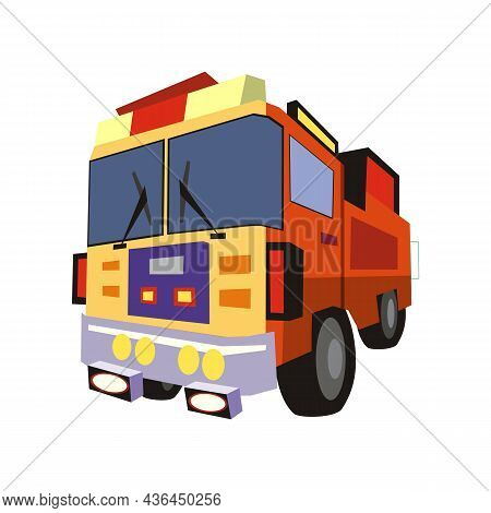 Flat Vector Illustration Of A Red Fire Truck. Isolated On A White Background. Rescue Service Car Des