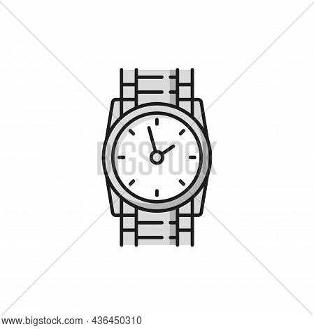 Wrist Watch Elegant Men Swiss Clock Isolated Flat Line Icon. Vector Watch On Metal Shape Silver Or P