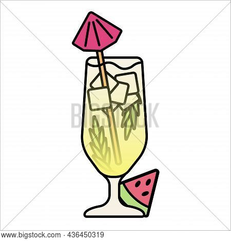 Refreshing Mixed Cocktail. Champagne With Ice. Isolated Illustration For Bar Menu.