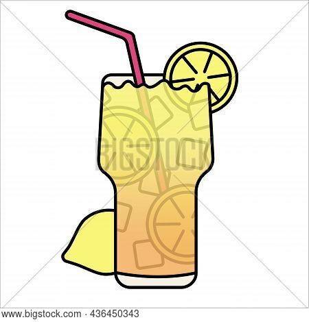 Glass With Refreshing Drink With Lemon And Ice. Isolated Illustration For Menu.