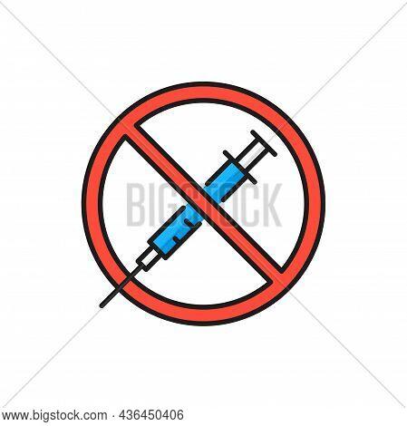 Vaccine Refusal, Rejecting Preventive Coronavirus Covid Isolated Color Thin Line Icon. Vector Anti V