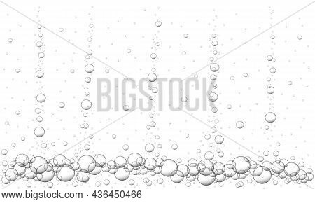 Water Air Bubbles Background. Fizzy Carbonated Drink Texture, Beer, Lemonade, Cola, Sparkling Wine.