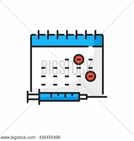 Calendar Schedule Coronavirus Vaccination, Syringe Isolated Color Line Icon. Vector Two Marked Dates
