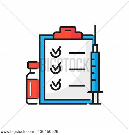 Coronavirus Vaccination Schedule, Calendar Marks, Syringe And Vaccine Color Line Icon. Vector Drugs