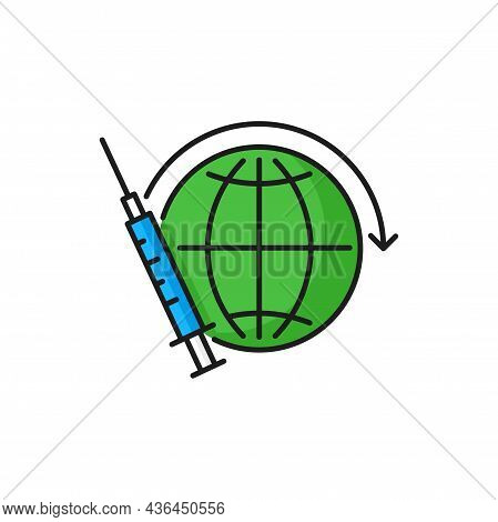 Syringe With Coronavirus Vaccine, World Injection Isolated Color Line Icon. Vector Vaccination And I