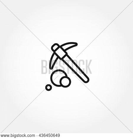 Mining Hammer Icon. Gem Mining Line Icon. Mining Isolated Line Icon