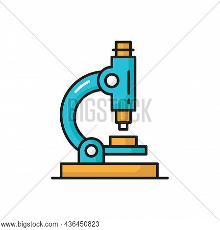 Bio Microscope Research Equipment Isolated Color Line Icon. Vector Biotechnology Microbiology Optic
