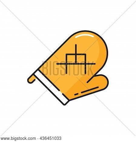 Bakery Heat Protection Mitten, Mit To Hold Hot Yellow Line Icon. Vector Potholder, Bakery Mitt, Heat