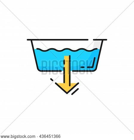Extra Water Or Detergent Add At Laundry Machine Isolated Color Line Sign. Vector Machine Wash Symbol