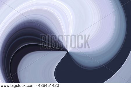 Monochrome Bluish Black Gray And White Swirling Rays From Center. Abstract Modern Background With Di