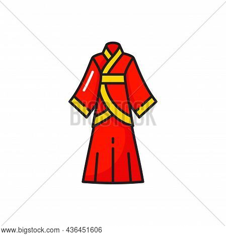 Kimono Long Sleeve Chinese Woman Gown Isolated Red Dress. Vector Oriental Ethnic Dress With Belt, Ea