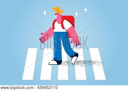 Walking On Pedestrian Cross Concept. Smiling Schoolboy Pupil With Backpack Cartoon Character Walking