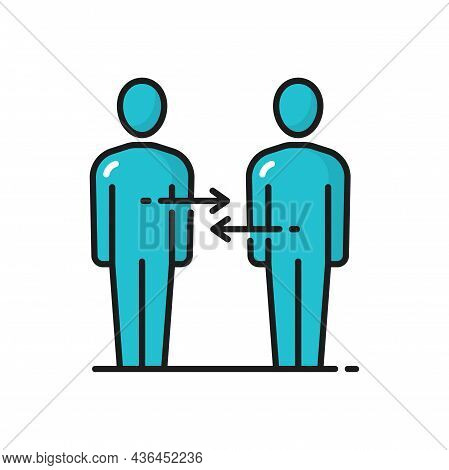 People Talking Exchanging Information, Color Line Icon. Vector Business Team, Teamwork Cooperation.