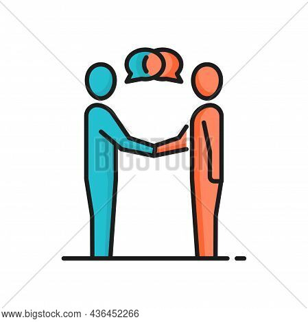 Businessmen Shaking Hands Isolated Icon. Vector Communication Of Two Business People, Conversation O