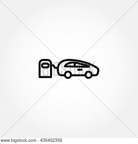 Car In Fuel Station Line Icon. Car Fueling Icon