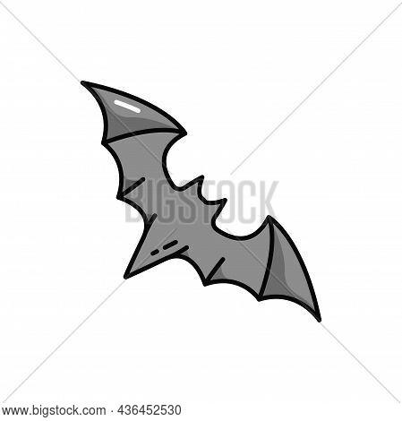 Halloween Flittermouse Vampire Black Bat Isolated Outline Icon. Vector Cartoon Rearmouse Wild Chirop