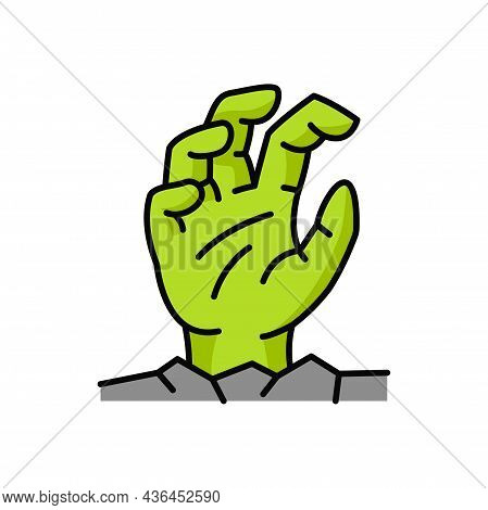 Ghost Arm Sticking Out, Green Zombie Hand Rise From Grave Isolated Outline Icon. Vector Nightmare Cr