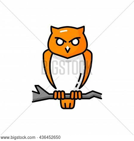 Scary Halloween Bird Isolated Wise Owl On Branch. Vector Wise Owl With Feathers, Wildlife Character
